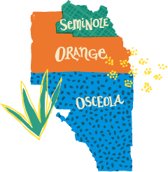 Map of Orange, Osceola, and Seminole Counties in Central Florida