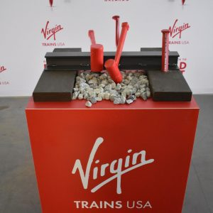 A pop up display of the Virgin Trains USA for promotional purposes