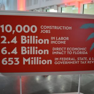 A sign about the economic impact to Florida stemming from this project
