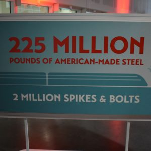 A sign with figures about American-made steel