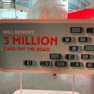 A sign stating that 3 milliong cars will be removed off the road